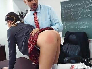 Cocky Mentor Buggers Extra Cock-squeezing Puckered Asshole Of Skinny Nymph