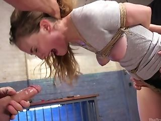 Tied Up Crimson Haired Gal Samantha Hayes Is Fucked And Disciplined By Two Dudes